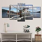 5 Pezzi di Barca a Vela peschereccio Paesaggio Marino Muro Muro Arte Pittura Immagini Stampa su Tela Il Quadro per la casa Decorazione Moderna,A,30x45x2+30x60x2+30x76x1