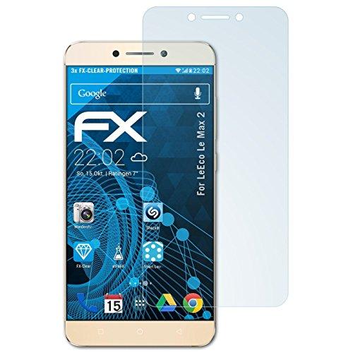 atFolix Schutzfolie kompatibel mit LeEco Le Max 2 Folie, ultraklare FX Bildschirmschutzfolie (3X)