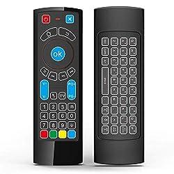 GOWELL Bluetooth-Fernbedienung, speziell kompatibel mit Amazon Fire TV und Fire TV Stick-Fernbedienung mit Tastatur Air Mouse, kompatibel mit Android TV Box / Windows / Raspberry Pi 3- (No Alexa)