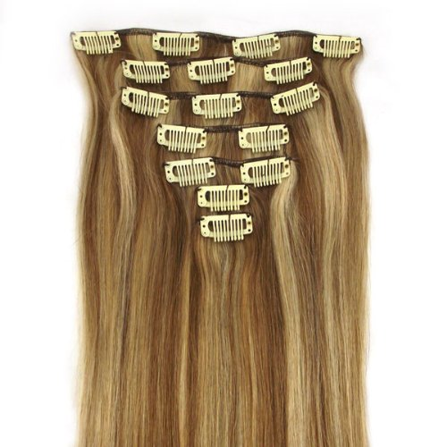 20inch Long Straight 100% Real Human Hair Clip In/on Hair 7pieces Extensions 70g#12/613 honey bleach blonde