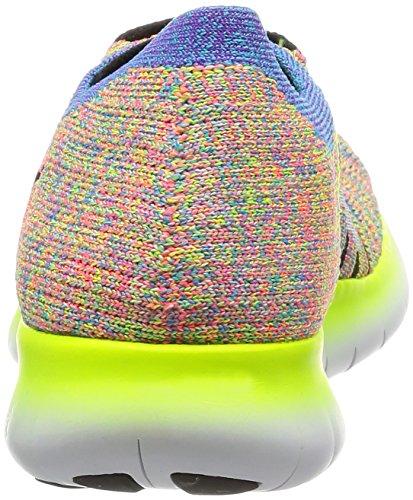 Nike Wmns Free Rn Flyknit, Scarpe da Corsa Donna Bianco (White / Black-Bl Glow-Hypr Pnch) (nero)