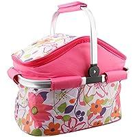 A-szcxtop 20L con aislamiento plegable cesta de Picnic bolsa térmica para el almacenamiento de alimentos ligero y duradero tote-pink
