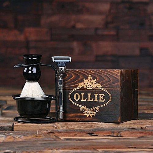 Personalisiertes monogrammiertes Rasierzeug, Rasierpinsels und Mach 3 Rasierer mit Holzbox (Rasierzeug Holz)
