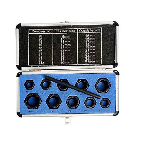 11piezas Set de Extractor de Tuerca Dañados, llaves de vaso 9–19mm Damaged tuerca extractores de tornillos extractor Kit de herramientas de bloqueo juego de llaves hexagonales