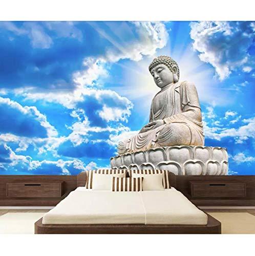 Weiße Wolken Buddha Statue Stein Tv Hintergrund Wand Wohnzimmer Schlafzimmer Wandbild 3D Tapete 400X280 Cm ()