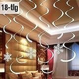 Schneeflockendekoration zum Aufhängen. 18-tlg, für Weihnachten und Winter Deckenhänger-Set, Weihnachtsdekoration