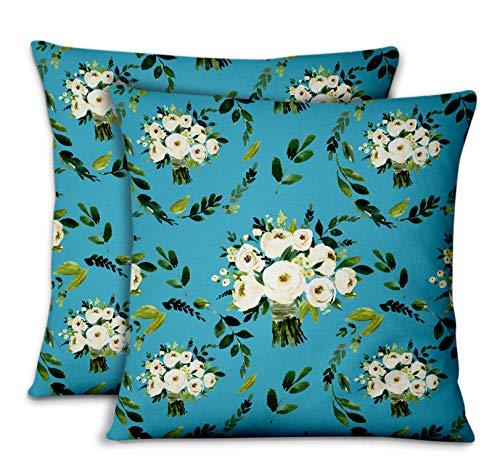 S4Sassy Azul Popelina de Algodon Corona de Flores de jazmín árabe Cojines...