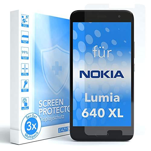 EAZY CASE 3X Panzerglas Bildschirmschutz 9H Härte für Nokia Lumia 640 XL Dual SIM, nur 0,3 mm dick I Schutzglas aus gehärteter 2,5D Panzerglasfolie, Bildschirmschutzglas, Transparent/Kristallklar