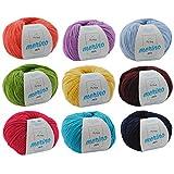 Merinowolle kaufen * Wollmix Farbenfroh XL * Bunte Wolle zum Stricken - Strickgarn Merino Mix 9 Knäuel + GRATIS MyOma Label - 50g/120m - MyOma Wolle - weiche Wolle – Mischgarn – Wolle Mix zum häkeln