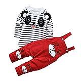 CHIC-CHIC Ensemble Salopette avec Haut Longues Manches Bébé Garçon Fille Panda Rayure Haut T-shirt Mignon 3-4ans Rouge