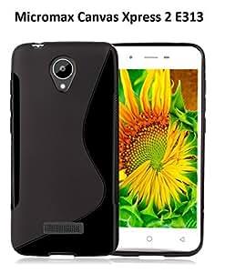 Micromax Canvas Xpress 2 E313 Magic Brand S-Line Black Soft Silicon Back Cover Case