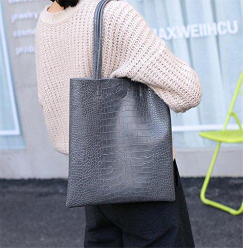 HQYSS Damen-handtaschen Große Kapazitäts-PU-lederne Frauen-Handtaschen-feste Farben-magnetische Verschluss-Schulter-Beutel-Einkaufstasche gray