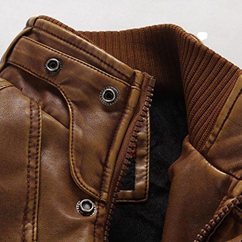 YOUJIA Manteau Veste PU en Cuir Homme Blouson Imitation Cuir Jacket Col à Fermeture éclair Simili Cuir Vintage Chaud Homme Hiver Ceinture Marron