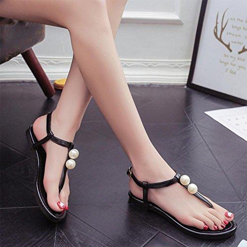 Sandali donna scarpe Pearl toe suole piatte scarpe scarpe da spiaggia scarpe tacco piatto scarpe romane piedi pizzico una parola fibbia dopo la benda imitazione scarpe in pelle Black