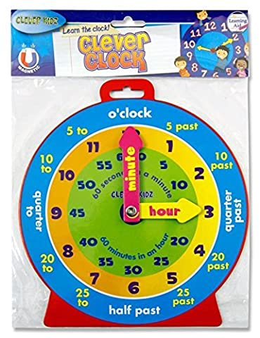Clever Kidz Teaching Clock. Learn To Tell The Time. Bright and Colourful. 23cm Diameter. Magnetic Back. Learn Hours and
