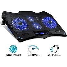 """EMPIRE GAMING - Refrigeradorpara PC portátil Gamer Wind Tornado Blue: ultra potente con 4 ventiladores LED azulessilenciosos - Refrigerador ideal para PC portátiles de 10"""" a 15,6"""""""