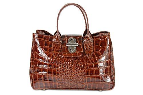 BELLI ital. Echt Leder Handtasche Henkeltasche cognac braun lack Kroko Prägung - 36x25x18 cm (B x H x T) (Prägung Leder Handtasche)