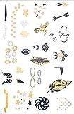 Yh060 - Tatouage Faux pour le corps - Tattoo - Bras - Chevilles - Poignets - Jambe - Jambe - Epaule - Dos - Araignées - Cœur - Oiseaux - Infini - Flèche - Ailes d'ange - Plume - Femme