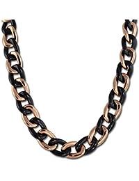 Amello Edelstahl Halskette Keramikschmuck schwarz - Halskette Panzerkette Big rosevergoldet für Damen Edelstahlschmuck Stainless Steel ESKX23S0