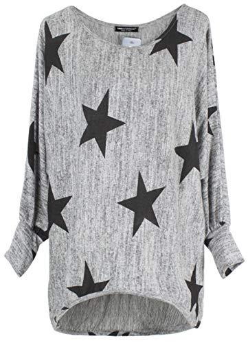 Emma & Giovanni - Langarmshirt Mit Blume - Pullover- Asymmetrisch Top - Damen (DE 36/38 (Etikett M), Grau)
