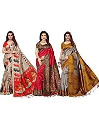 Ishin Silk with Blouse Piece Saree (Pack of 3) (Combosr-80007_Multicolor_Free)