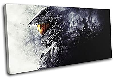 Bold Bloc Design - Halo 5 Chief Gaming SINGLE Canvas Art Print Box Framed Picture Wall Hanging - Hand Made In The UK - Framed And Ready To Hang