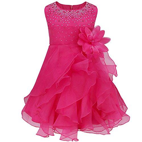 Tiaobug Baby Mädchen Kleid Prinzessin Hochzeit Taufkleid Blumenmädchen Festlich Kleid Kleinkind Festzug Kleidung Rose 98 (Herstellergröße: (Kleinkind Prinzessin Kleid)