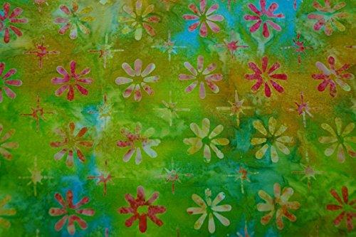 Java-batiken (Handgefärbte Batik aus Indonesien / 'Flowers' COL F / 100% Baumwolle aus Java / 120-130 gsm / Breite 110cm / Preis für 0,25lfm)