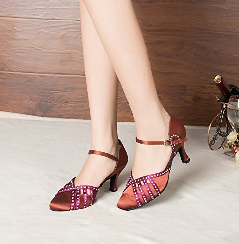 Minitoo Donna Cristalli Mary Jane raso scarpe da danza latina Brown