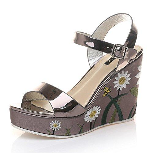 Sommer Damen Sandalen Plateau Weite Band Blumenabsatz Keilabsatz Römische Schuhe Grau