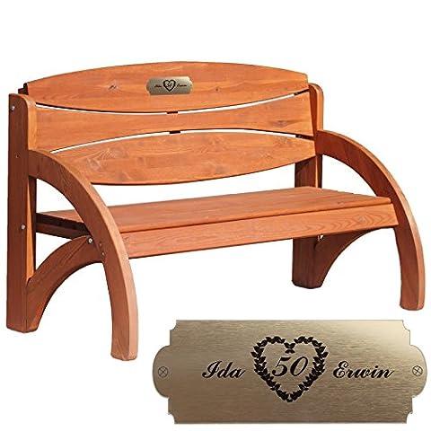 Geschenke 24 Personalisierte Gartenbank zur Goldenen Hochzeit - persönliches Geschenk mit Gravur - eine schöne Geschenkidee zum 50. Hochzeitstag für Männer und Frauen (Kirschbaum
