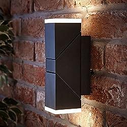 Biard Applique Murale LED 13W Ziersdorf Éclairage Bi-Focal Haut Bas Ajustable Design Carré Noir Étanche IP54 Intérieur Extérieur Jardin Terrasse