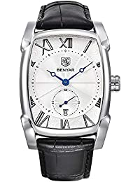 benyar Hombres Reloj Clásico Rectángulo números Romanos Dial Vintage Elegante Piel Business Casual Elegante Reloj Gorgeous