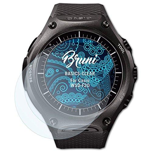 Bruni Schutzfolie kompatibel mit Casio WSD-F20 Folie, glasklare Bildschirmschutzfolie (2X)
