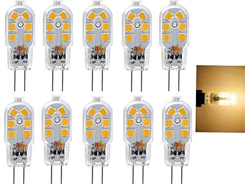 12v Ac, Unter-kabinett Lichter (2W G4LED-Glühbirne, Bi Pin Sockel, transparent Fall, 20W Halogen Glühbirne Ersatz, AC/DC 12V, unter Kabinett Licht, Warm Weiß 3000K, 10er Pack)
