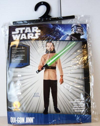 Rubies - 17073 - Star Wars - Kinder Kostüm - Qui-Gon Jinn - Größe M - enhält: bedruckten Einteiler & Maske
