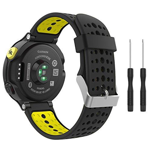 MoKo Armband für Garmin Forerunner 235/235 Lite / 220/230 / 620/630 / 735 - Silikon Ersatz-Uhrenarmband Uhrenarmband Einstellbar Armband Replacement Wechselarmband, Schwarz/Gelb