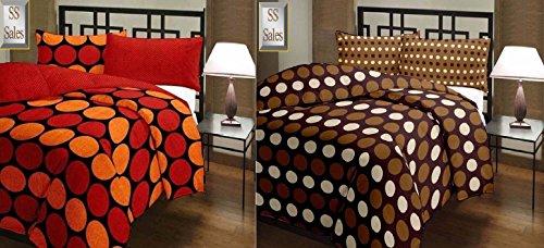 SS Sales Brown Polka & Oranage Polka Prints Reversible Single Bed AC Blanket Dohar Combo Set Of 2 Pc
