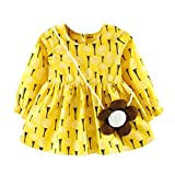Amlaiworld Baby Mädchen bunt Sonnenblume Druck Langarm Kleider+ Blumen Tasche Niedlich Kleinkind Kleidung,6-24Monate (24 Monate, Gelb)