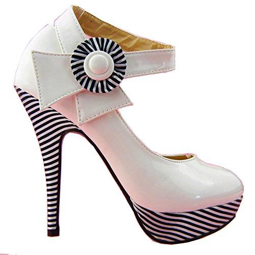 Visualizza Story sexy della caviglia Flower Strap banda stiletto della piattaforma pompa i pattini, LF30404 Bianco