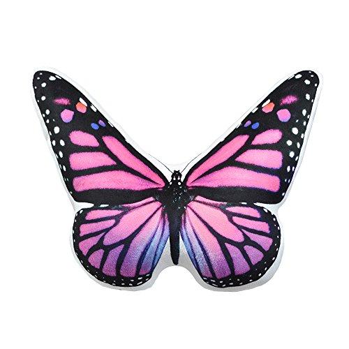 JWH Coussin du Papillon 3D L'oreiller Imprimé Super Doux le Jouet à Papillon Rouge pour le Cadeau la Maison le Canapé le Lit 33x38cm