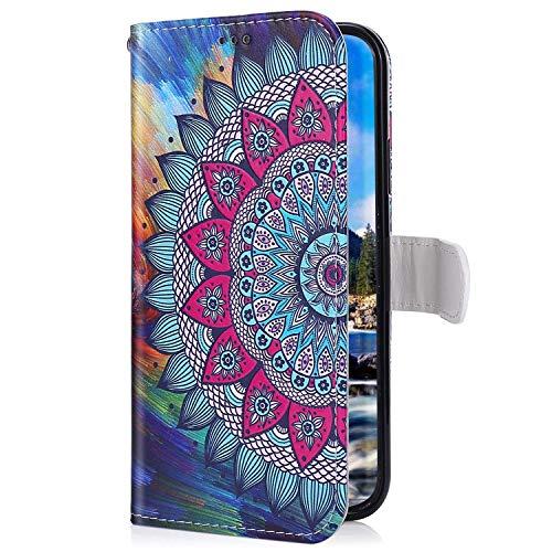 Uposao Kompatibel mit Samsung Galaxy A70 Handyhülle Lederhülle Bunt Retro Muster Schutzhülle Flip Case Handy Tasche Wallet Hülle Bookstyle Klapphülle Kartenfächer,Mandala Blumen