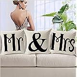 Ruikey Mr Mrs Fundas Pareja Cojín nórdica de algodón de estilo de impresión del sofá de la cintura del coche Cubiertas para la decoración del hogar, 45 × 45 cm conjunto de 3