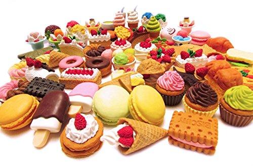 Radiergummi, 30 Stück, verschiedene Lebensmitteln, Kuchen, Dessert, Puzzle-Spielzeug für Kinder (30 verschiedene Stile, zufällig ausgewählt, Farbe kann vom Bild abweichen)