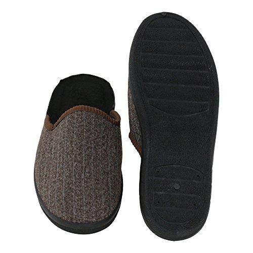 Herren Hausschuh Gestreifte-Pantoffeln Schluppen - optimaler Komfort und flexibilität - Farben: Braun und Grau - Größen: 40-46 - von Brandsseller Braun