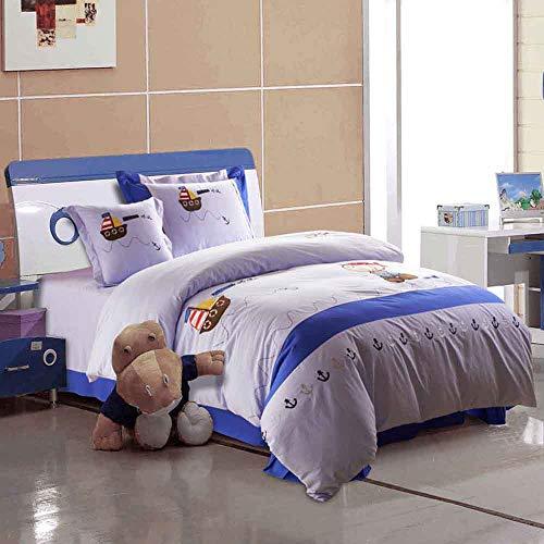 ZQYY® Kinderbettwäsche 4-teiliges Set,Volle Baumwolle Bestickt Geeignet für Studentenwohnheim für Jugendliche Benutzen Bettbezug aus Baumwolle,Betttücher(Blaue Herz-Kindersprache),150 * 200cm
