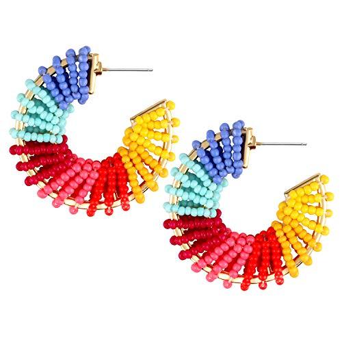 Bascolor Hängende Ohrringe für Damen Geometrische Ohrringe Creolen Statement Tropfen Ohrringe Perlen Bunt Hoop Ohrringe Ohrschmuck Boho Schmuck für Frauen Mädchen (Perlen Ohrringe Hoop)