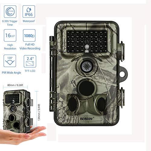 MCJL Trail Camera 16MP 1080P große Wasserdichte Jagd-und Wildtierkamera, 120 ° Weitwinkel 940nm unsichtbarer Nachtsicht bis 20M