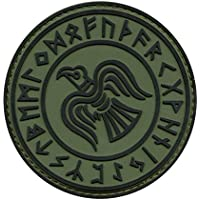 Olive Drab OD Rare Norse Viking Raven Runes Odin God of War Morale PVC Rubber 3D Hook-and-Loop Patch