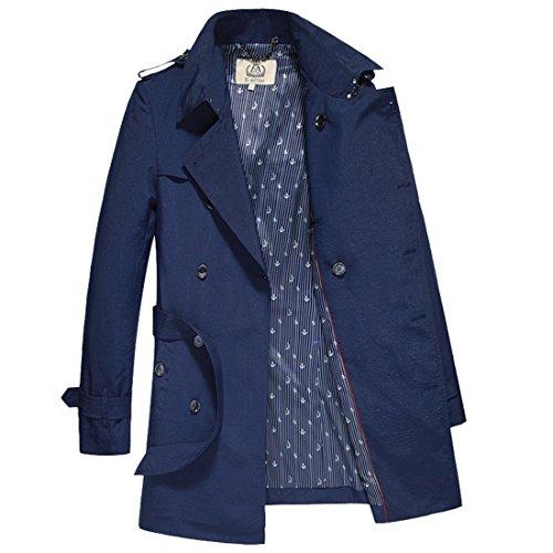 E-artist Uomo Lunga Sottile Cappotto Giacca F07 Blu (Navy Blue)